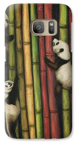 Galaxy Case featuring the painting Pandas Climbing Bamboo by Leah Saulnier The Painting Maniac