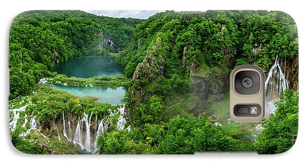 Panorama Of Turquoise Lakes And Waterfalls - A Dramatic View, Plitivice Lakes National Park Croatia Galaxy S7 Case