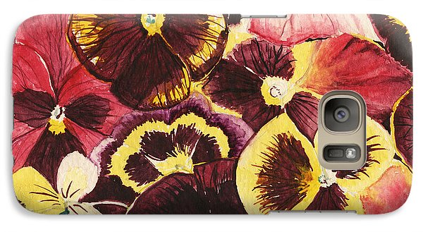 Galaxy Case featuring the painting Pansies Competing For Attention by Shawna Rowe