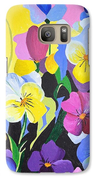 Galaxy Case featuring the painting Pansies by Donna Blossom