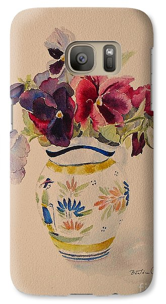 Galaxy Case featuring the painting Pansies In A Quimper Pot by Beatrice Cloake