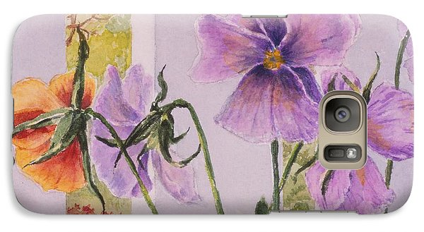 Galaxy Case featuring the painting Pansies On My Porch by Mary Ellen Mueller Legault