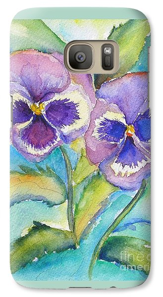 Galaxy Case featuring the painting Pansies by Patricia Piffath