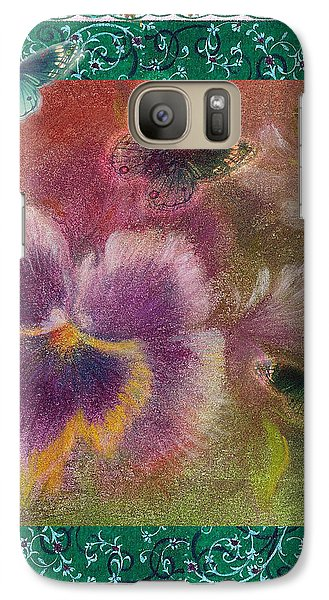 Galaxy Case featuring the painting Pansy Butterfly Asianesque Border by Judith Cheng