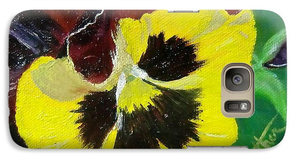 Galaxy Case featuring the painting Pansy No. Ten by Bonnie Heather