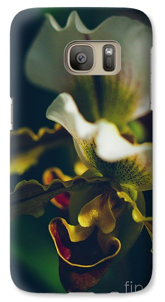 Galaxy Case featuring the photograph Paphiopedilum Villosum Orchid Lady Slipper by Sharon Mau