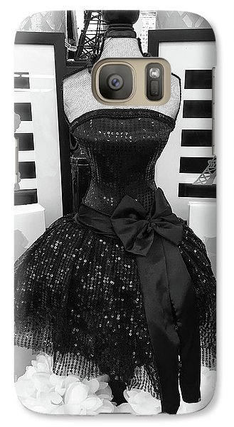 Galaxy Case featuring the photograph Paris Ballerina Costume Black And White French Decor - Parisian Ballet Art Black And White Art Deco by Kathy Fornal
