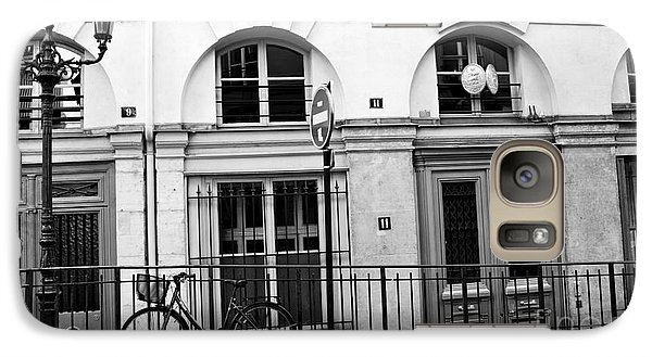 Galaxy Case featuring the photograph Paris Bicycle Street Lanterns Architecture Black And White Art Deco - Paris Black White Home Decor by Kathy Fornal