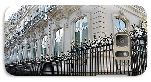 Galaxy Case featuring the photograph Paris Black Iron Ornate Gate To Parc Monceau - Parisian Gates  by Kathy Fornal