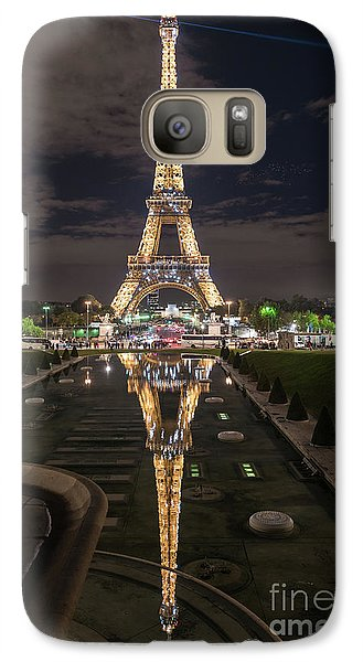 Paris Eiffel Tower Dazzling At Night Galaxy S7 Case by Mike Reid