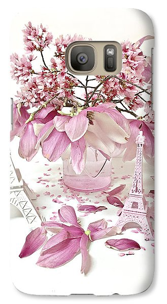 Galaxy Case featuring the photograph Paris Eiffel Tower Spring Magnolia Flower Blossoms - Paris Pink White Spring Blossoms  by Kathy Fornal