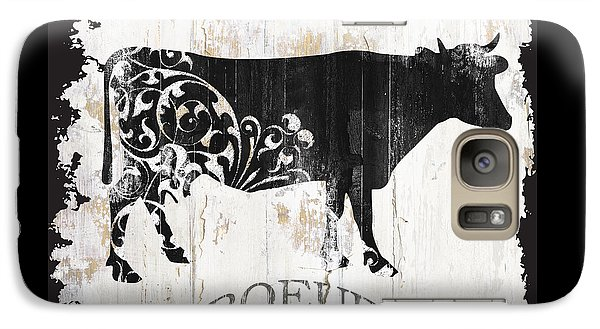 Cow Galaxy S7 Case - Paris Farm Sign Cow by Mindy Sommers