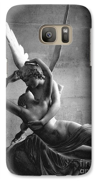 Paris In Love - Eros And Psyche Romantic Lovers - Paris Eros Psyche Louvre Sculpture Black White Art Galaxy S7 Case