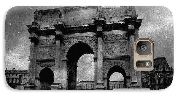 Galaxy Case featuring the photograph Paris Louvre Entrance Arc De Triomphe Architecture - Paris Black White Starry Night Monuments by Kathy Fornal