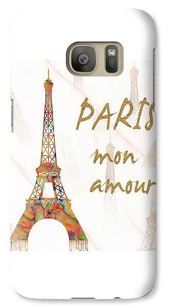 Galaxy Case featuring the painting Paris Mon Amour Mixed Media by Georgeta Blanaru