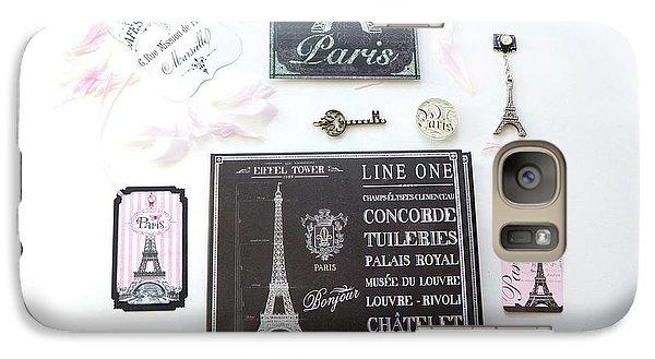 Galaxy Case featuring the photograph Paris Pink Black French Script Wall Decor Art, Paris Print Collection  - Parisian Pink Black Decor   by Kathy Fornal