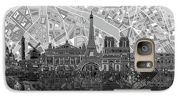Galaxy Case featuring the painting Paris Skyline Black And White by Bekim Art