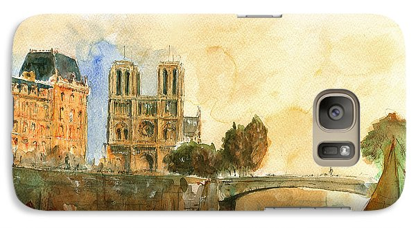 Paris Watercolor Galaxy S7 Case by Juan  Bosco