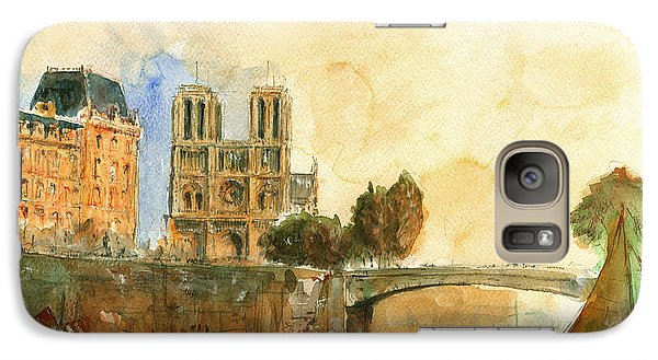 Paris Watercolor Galaxy Case by Juan  Bosco