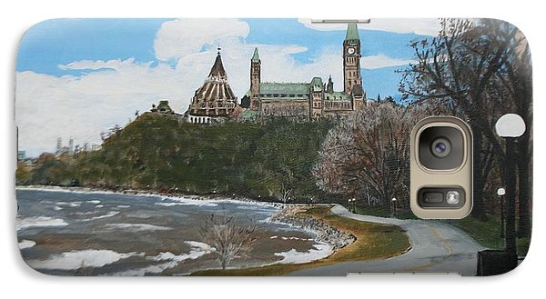 Galaxy Case featuring the painting Parliament Hill Ottawa River by Betty-Anne McDonald