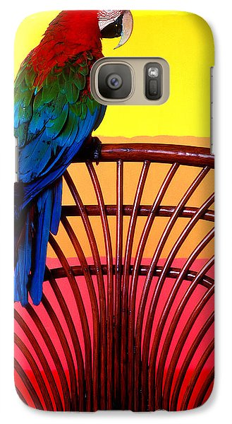 Parrot Sitting On Chair Galaxy Case by Garry Gay