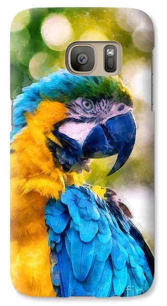 Galaxy Case featuring the painting Parrot Watercolor by Edward Fielding