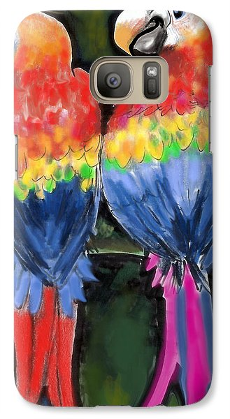Galaxy Case featuring the painting Parrots by Kevin Middleton