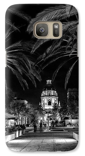Galaxy Case featuring the photograph Pasadena City Hall After Dark In Black And White by Randall Nyhof