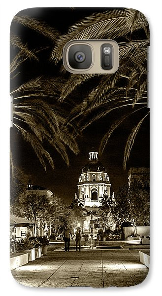 Galaxy Case featuring the photograph Pasadena City Hall After Dark In Sepia Tone by Randall Nyhof