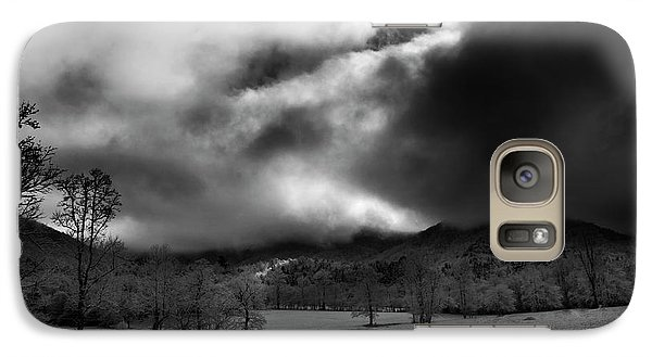 Galaxy Case featuring the photograph Passing Snow In North Carolina In Black And White by Greg Mimbs