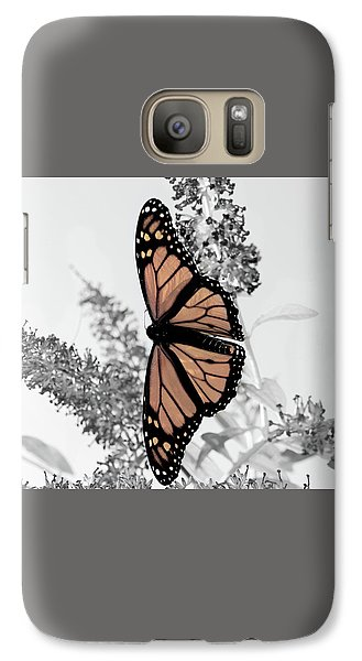 Galaxy Case featuring the photograph Pastel Monarch On Black And White by Lara Ellis