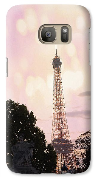 Galaxy Case featuring the photograph Pastel Paris Eiffel Tower Sunset Bokeh Lights - Romantic Eiffel Tower Pink Pastel Home Decor by Kathy Fornal