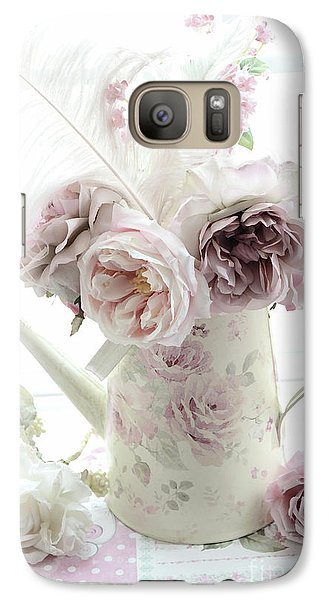 Galaxy Case featuring the photograph Pastel Romantic Shabby Chic Pink Flowers In Watering Can - Romantic Cottage Floral Home Decor  by Kathy Fornal
