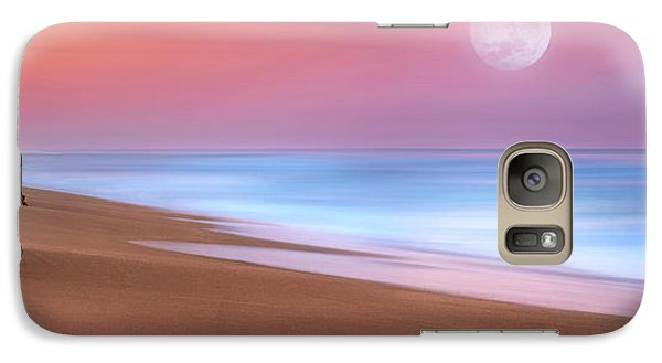 Galaxy Case featuring the photograph Pastel Sunset And Moonrise Over Hutchinson Island Beach, Florida. by Justin Kelefas