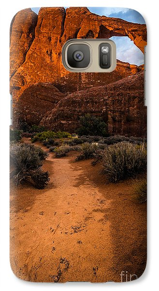 Galaxy Case featuring the photograph Path To Skyline Arch At Sunset - Utah  by Gary Whitton