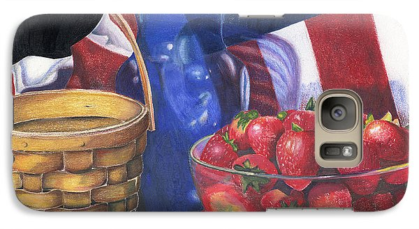Galaxy Case featuring the painting Patriotic Strawberries by Angela Armano