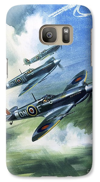 Patrolling Flight Of 416 Squadron, Royal Canadian Air Force, Spitfire Mark Nines Galaxy S7 Case by Wilf Hardy