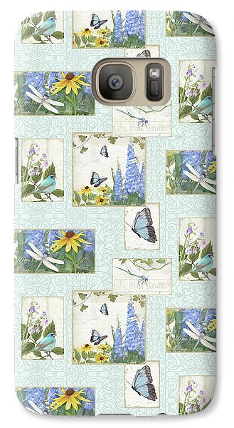 Galaxy Case featuring the painting Pattern Butterflies Dragonflies Birds And Blue And Yellow Floral by Audrey Jeanne Roberts