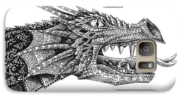 Galaxy Case featuring the drawing Pattern Design Dragon by Aaron Spong