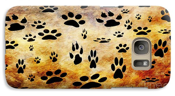Galaxy Case featuring the digital art Paw Prints by Andee Design