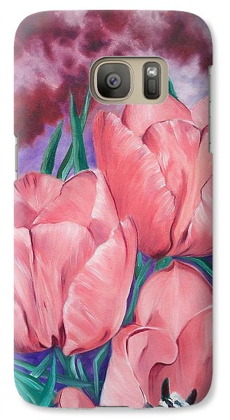 Galaxy Case featuring the painting Peach Pink Tulips by Sigrid Tune