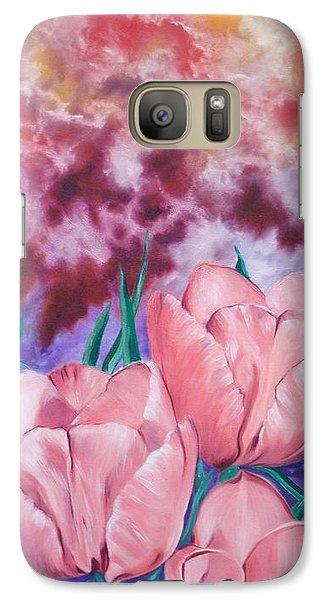 Galaxy Case featuring the painting Peachypink Tulips by Sigrid Tune