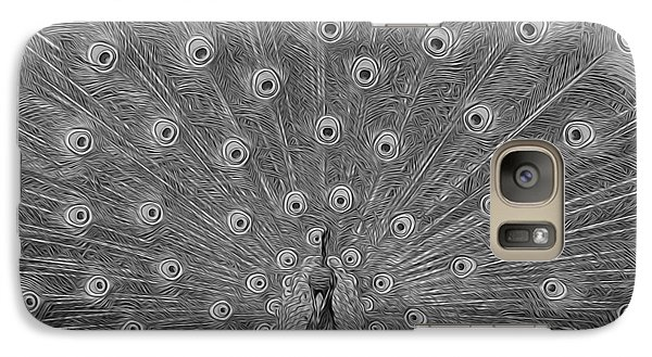 Galaxy Case featuring the photograph Peacock Fanfare - Black And White by Diane Alexander
