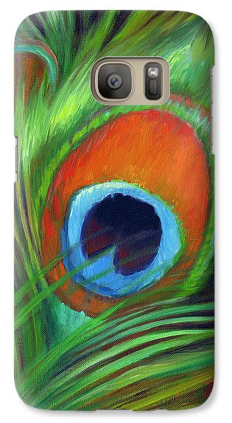 Galaxy Case featuring the painting Peacock Feather by Nancy Tilles