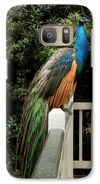 Galaxy Case featuring the photograph Peacock On A Fence by Jean Noren
