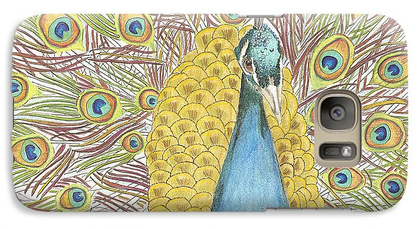 Galaxy Case featuring the drawing Peacock One by Arlene Crafton