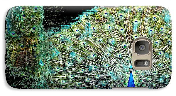 Peacock Pair On Tree Branch Tail Feathers Galaxy Case by Audrey Jeanne Roberts