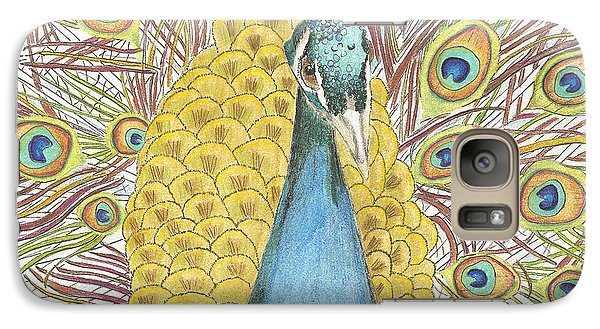 Galaxy Case featuring the drawing Peacock Two by Arlene Crafton