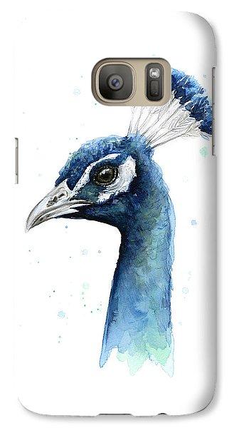 Peacock Galaxy S7 Case - Peacock Watercolor by Olga Shvartsur