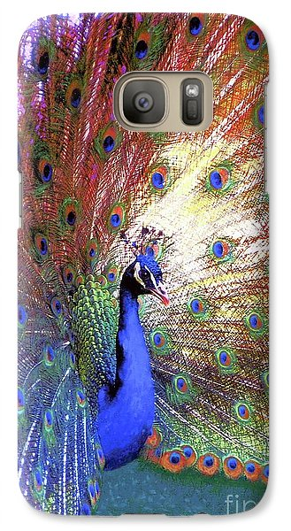 Galaxy Case featuring the painting Peacock Wonder, Colorful Art by Jane Small
